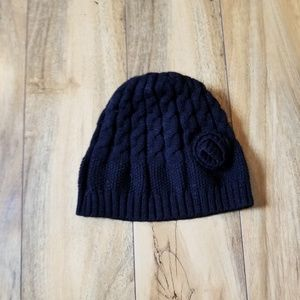 Accessories - Black Knit Winter Hat with flower